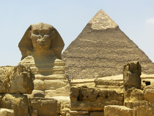 Sphynx and great pyramid photo