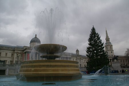 Trafalgar Square in Winter, Lomndon England