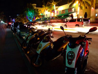 Mopeds parked on South Beach Florida