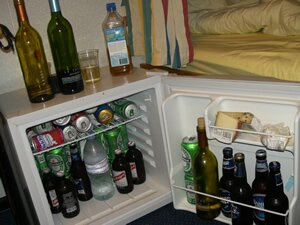 Typical fridge of a cruise ships crewmember