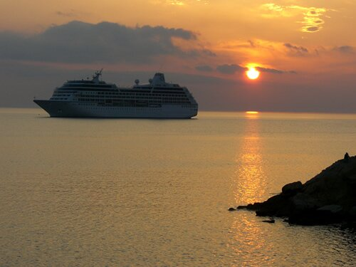 Cruise Ship anchored at sunset